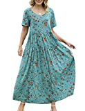 YESNO Women Casual Loose Bohemian Floral Dress with Pockets Short Sleeve Long Maxi Summer Beach Swing Dress (S EJF CR14)