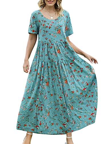 YESNO Women Casual Loose Bohemian Floral Dress with Pockets Short Sleeve Long Maxi Summer Beach Swing Dress (XL EJF CR14)