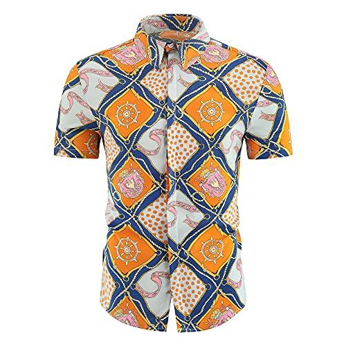 Playa Shirt Hombre Verano Ajustado Moderno Hombre Deportiva Camisa Moda Estampado Manga Corta Shirt Botón Placket Casuales Camisa Vacaciones Secado Rápido Hawaii Camisa J-10 XXL