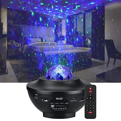 LED Sternenprojektor Sternenhimmel Lampe, Rotierende Wasserwellen Projektionslampe, BSLED kinder Nachtlicht mit Fernbedienung Musikspieler mit Bluetooth Bluetooth und Timer, für Kinder Zimmer Dekoration