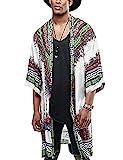 COOFANDY Mens African Dashiki Printed Ruffle Shawl Collar Cardigan Lightweight Long Length Drape Cape (Large, White)