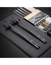 Hopewey Ätpinnar svarta 6 par + 6 st ätpinnar svarta japanska kopplingar kinesiska pinnar legering klubbpinnar ätpinnar metall, halkfria ätpinnar restaurang