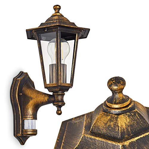 Buitenwandlamp Loria met bewegingsmelder, wandlamp naar boven in antieke look, gegoten aluminium in bruin/goud met helder glas, wandlamp voor terras/tuin met E27 aansluiting, max. 60 watt, retro/vintage