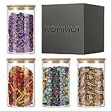 KOHMUI Vorratsdosen Glas mit Deckel, Mehrweg-Vorratsgläser 4er Set, 1.2L Luftdicht Glasdose mit 4 zusätzliche Dichtungen, Gewürzgläser Glasbehälter Gläs Vorratsdosenset zur Aufbewahrung