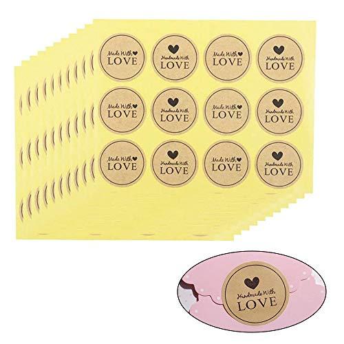 Busta Label Seal, Etichetta Adesiva Natalizia, Etichette Adesivi Rotonde Handmade, Simpatici Adesivi Decorativi per Buste, Album, Artigianato, Adesivi per Casa, Ufficio, Matrimonio (10 Fogli/600 pz)