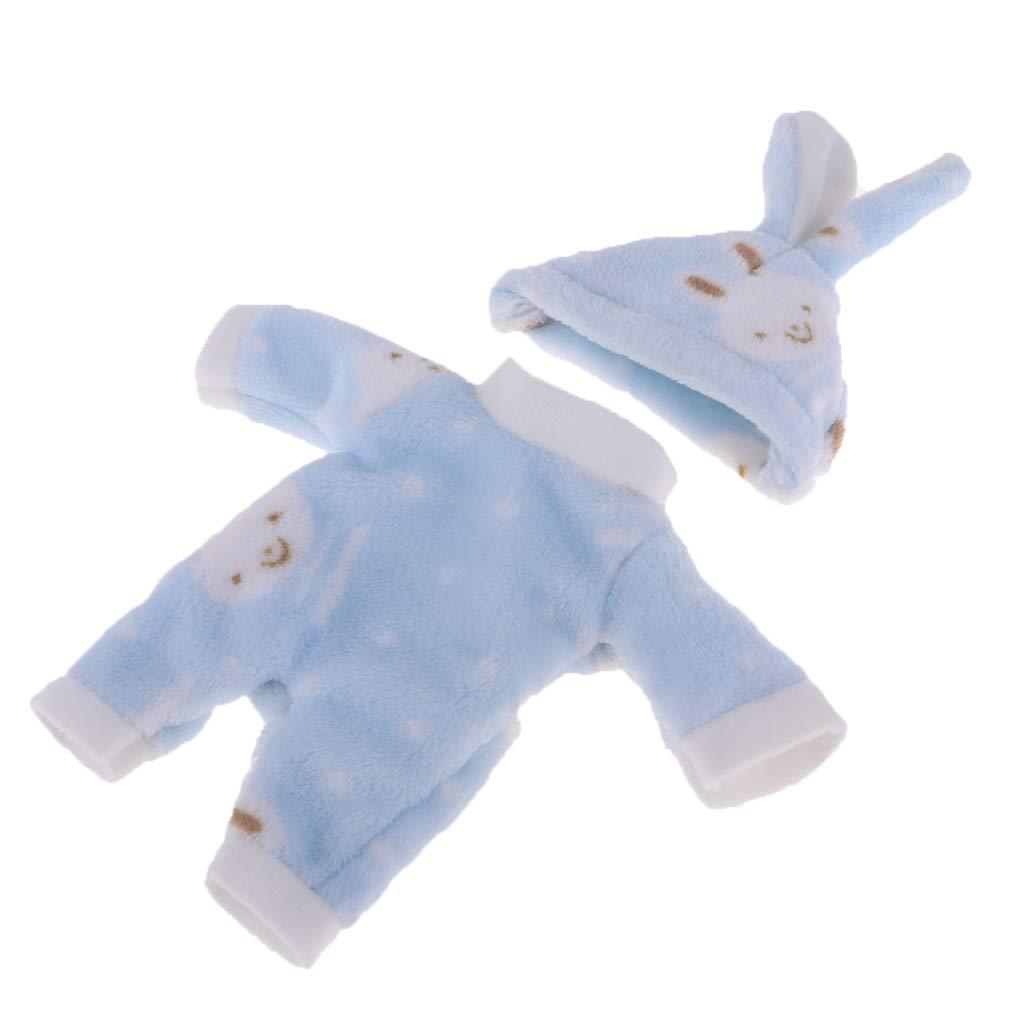 2pcs Jumpsuit with Rabbit Hat Clothes Set for 25cm Mellchan or 9-11inch Reborn