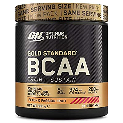 Optimum Nutrition Gold Standard BCAA Powder Branch Chain Amino Acids Supplement with Vitamin C, Wellmune and Electrolytes for Intra Workout Support, Peach and Passionfruit, 28 Servings, 266 g