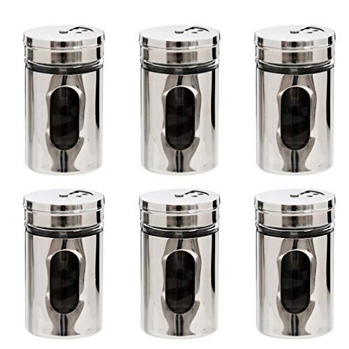 UPKOCH 6 pezzi 290 ml agitatori per shaker in polvere in acciaio inossidabile dragare sale zucchero zucchero barattolo pepe shaker