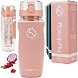 Hydracy Fruit Infuser Water Bottle - 32 oz Sports Bottle - Insulating Sleeve, Time Marker & Full Length Infusion Rod +...