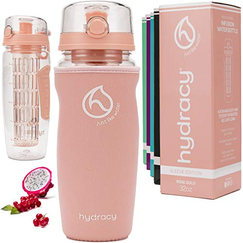 Hydracy Fruit Infuser Water Bottle - 32 oz Sports Bottle - Insulating Sleeve, Time Marker & Full Length Infusion Rod + 27 Fruit Infused Water Recipes eBook Gift - Rose Gold