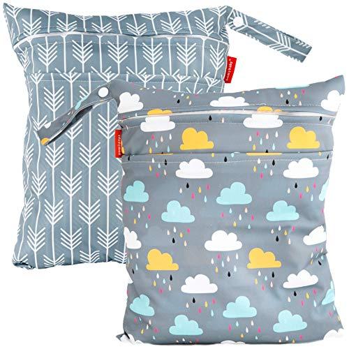 HOMYBABY Bolsa Impermeable de tela [2pcs]| Organizador de pañales o ropa para guardería y colegio | Neceser viaje, playa, piscina, deporte | Bolsa pañales de tela para bebe | Bolsa merienda infantil
