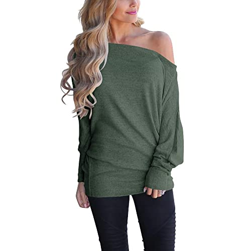 473f799b45 INFITTY Women s Off Shoulder Loose Pullover Sweater Batwing Sleeve Knit  Jumper Oversized Tunics Top