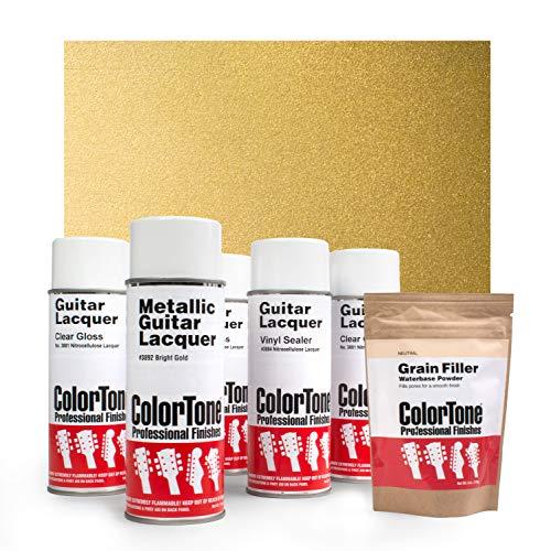ColorTone Aerosol Finishing Set with Metallic Lacquer, Bright Gold