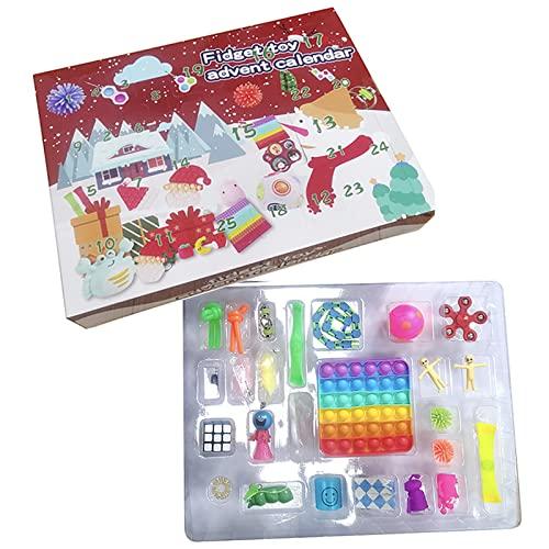 Calendario de Adviento 2021 para niños, adolescentes y adultos con 24 diferentes juguetes para aliviar el estrés de Navidad