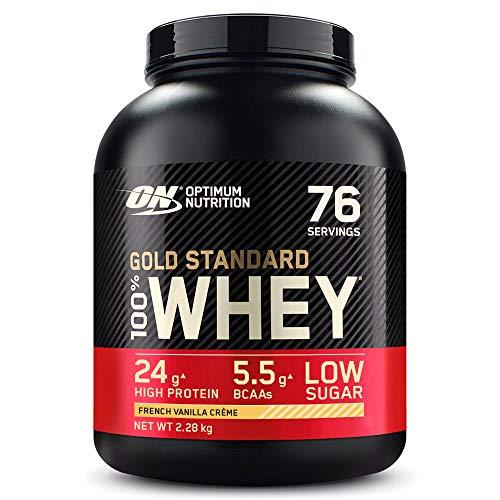 Optimum Nutrition Gold Standard 100% Whey Proteína en Polvo, Glutamina y Aminoácidos Naturales, BCAA, Crema de Vainilla Francesa, 76 Porciones, 2,28kg, Embalaje Puede Variar