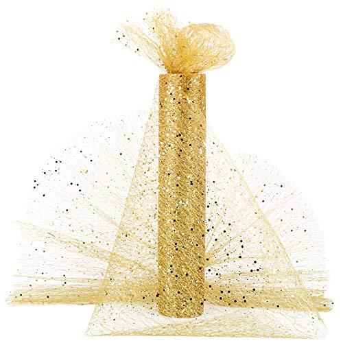 10metros Rollo Tul Tela Tul Dorado Carrete Tulle Ancho 30cm Decoración Hogar Camino de Mesa Boda Navidad Fiesta Manualidades Envolver Regalos Cinta Lazos