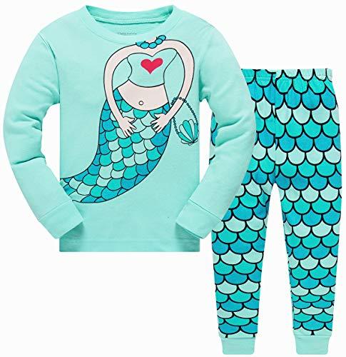 Conjunto de pijamas para bebés y niñas que brillan en la oscuridad, unicornio sirena, ropa de dormir de Navidad de manga larga PJS, 2 piezas para ropa de niño de 2 a 10 años