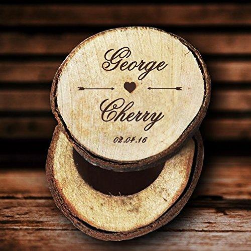 happygoluck1y - Caja de madera para anillos de boda personalizable para ceremonias y regalos de boda para parejas