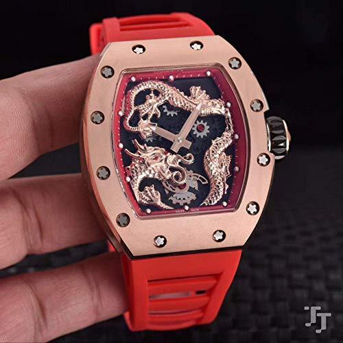 GFDSA Rot Blau Schwarz Gummi Rose Gold Herrenuhr Saphir Automatik Mechanisch Drache Tourbillon Skelett Uhren Rot