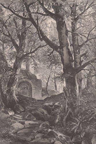 Eisenach - Am Brunnen der Heiligen Elisabeth. Ansicht mit Blick zur Wartburg. [Grafik]