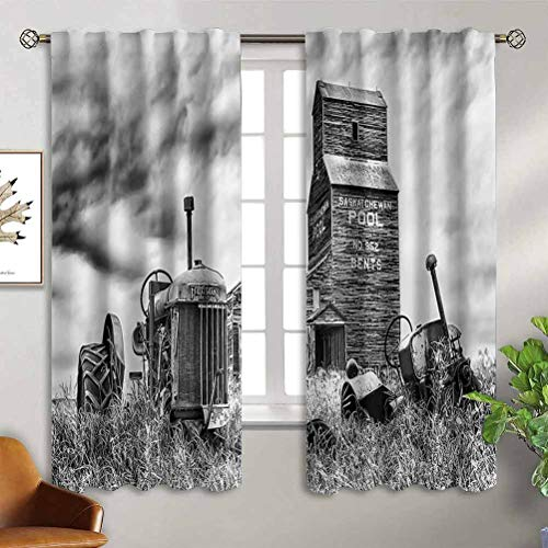 Jinguizi Industrial Decor Kitchen Curtains Old 60S Abandoned Tractor in The Farm in Central Canada Nostalgic Machinery Elements Image Thermal Insulated Drapes for Kitchen/Bedroom