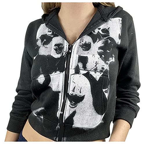 Zldhxyf Y2K - Sudadera con capucha para mujer, diseño vintage con cremallera y manga larga, estilo años 90, Negro , S