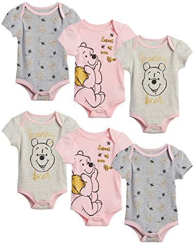 Disney Baby Girls 6 Piece Short Sleeve Bodysuits – Minnie, Ariel, Pooh (Newborn/Infant), Size 0-3 Months, Pooh Bear Pink