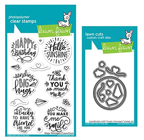 Lawn Fawn Magic Messages 4x6 Clear Stamp and Coordinating Dies, Bundle of 2 Items (LF2508, LF2509)