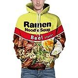 Wowcarbazole Men's Printed Pullover Ramen Hoodies Realistic 3D Digital Drawstring Sweatshirt with Big Pockets(Beef Noodles-XS)