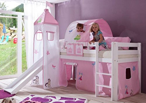Froschkönig24 Hochbett Alex Kinderbett mit Rutsche Spielbett Bett Weiß Stoffset Prinzessin, Matratze:mit