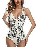MOVE BEYOND Mujer Sexy Trajes de Baño de Una Pieza Push up Acolchado Traje de Baño Bikini, Plantas Naturales Trajes de una Pieza, XL