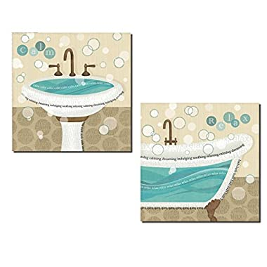Gango Home Décor Lovely Brown and Teal Pedestal Sink and Clawfoot Tub 'Calm' and 'Relax' Set by Veronique Charron; Two 12x12in Prints