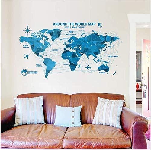 Newberli Étanche 3D Bleu Monde Carte Stickers Muraux Bureau Chambres Décalcomanies Décor Art Mural Chambre Pour La Décoration De La Maison Stickers Muraux