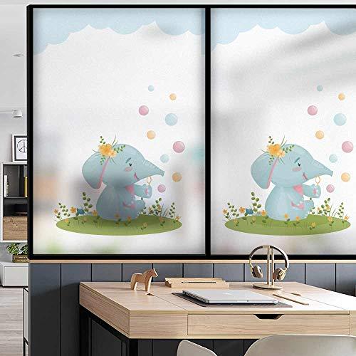 Adesivo per vetri moderno a forma di elefante cartone animato a forma di vento adesivo per il controllo del calore adesivo per vetri usato per bloccare i raggi ultravioletti L60cmX H90cm