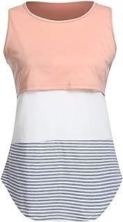 Lace Splice Pregnant Nursing Tank Top Baby Bump Tee Pajamas Double Layer Breastfeeding Pregnancy Basic Top