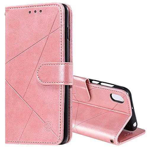 Snow Color Huawei Y5 2019 / Honor 8S Hülle, Premium Leder Tasche Flip Wallet Case [Standfunktion] [Kartenfächern] PU-Leder Schutzhülle Brieftasche Handyhülle für Huawei Y5 2019 - COHH060443 Rosa Gold