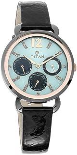 95013KL01  ساعة تيتان متعددة الوظائف حزام من الجلد الأسود للسيدات