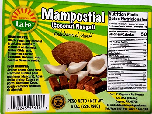 Mampostiales (Coconut Toffee) By Fabrica De Dulces La Fe (18 Individual Packaged Units)