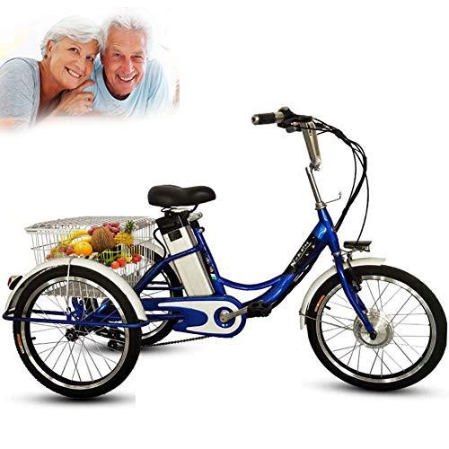 """DNNAL Tricycle électrique Adulte, Chariot de Panier de légumes de Loisirs de vélo électrique de Tricycle à 3 Roues de 20""""avec lumière LED et Panier à provisions,Bleu"""