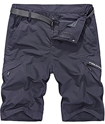 Vcansion Men's Outdoor Lightweight Hiking Shorts Quick Dry Shorts Sports Casual Shorts Dark Grey US 36