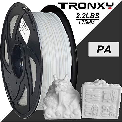 Filamento per stampante 3D in nylon, precisione +/- 0,05 mm, bobina da 1 kg, 1,75 mm, colore: bianco, filo perfetto senza pieghe