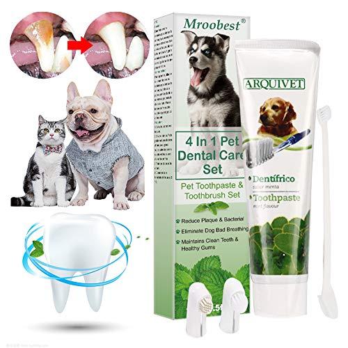 Dentifricio per Cani, Dog Toothpaste, Dog Toothbrush, Dentifricio Gatto, Kit per Cure odontoiatriche per Cani, Migliora…