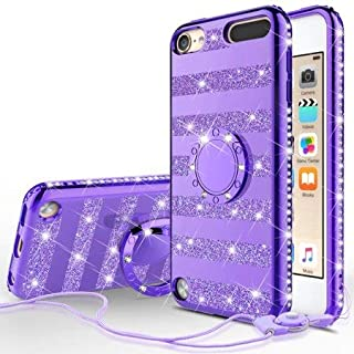 [GW USA] Glitter Cute Phone Case Girls Kickstand Compatible for Apple iPod Touch 6/iPod Touch 5 Case,Bling Diamond Bumper Ring Stand Soft Sparkly Apple iPod Touch 5/6th Generation - Purple Stripe