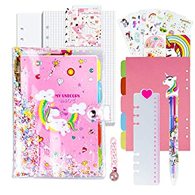 Diary for Girls, Unicorn Journal Set for Girls A5 Notebook/Scrapbook/Planner/Organizer for Kids/Teen Teenage Girls w/Unicorn Stickers, Frames, Ruler, Keychain, Storage Bag, One Multicolor Pen Included from TCJJ