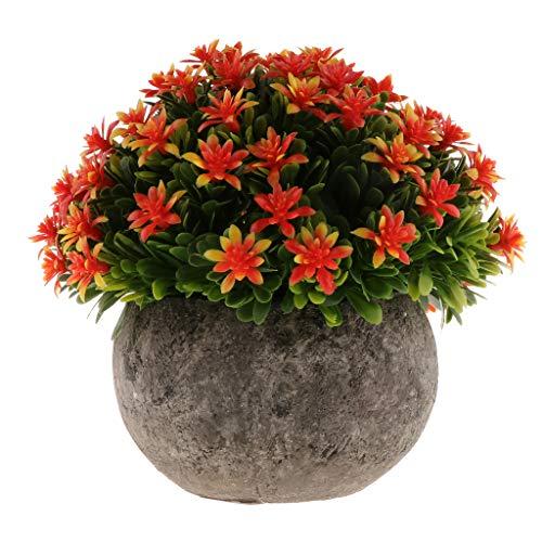 B Blesiya Mini Bonsaï De Fleurs Meuble Gypsophila Maison Jardin Cadeau Enfant avec Pot - Orange