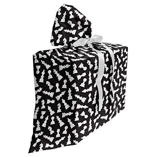 ABAKUHAUS Bordspel Cadeautas voor Baby Shower Feestje, Schaakstuk Silhouettes, Herbruikbare Stoffen Tas met 3 Linten, 70 cm x 80 cm, Zwart en wit