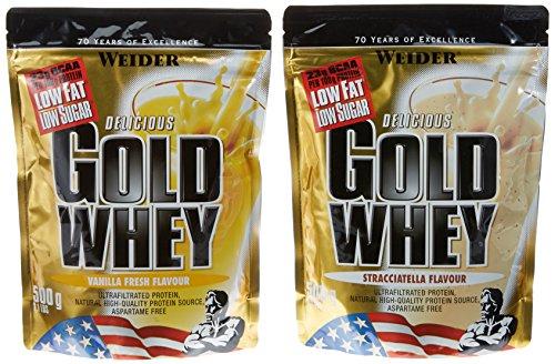Weider Gold Whey Beutel 2er Mix Pack, Vanille/Straciatella, 2 x 500 g (1 x 1 kg)