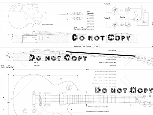 Gibson Les Paul Electric Guitar Plans - Full Scale Plans (Technical Drawings)- To Make Guitars