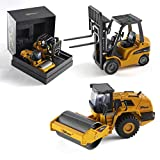 Top Race Metal Diecast Construction Set of 2 Heavy Metal Fork Lift and Road Roller with Heavy Rubber Tires 1:50 Scale TR-162