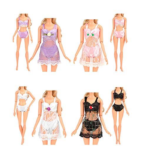 Miunana 4 Conjuntos Trajes de Pijamas Camisón Encaje con Ropa Interior Batas de Baño Atractivos Ropa para 11.5 Pulgadas 28 -30 CM Muñeca